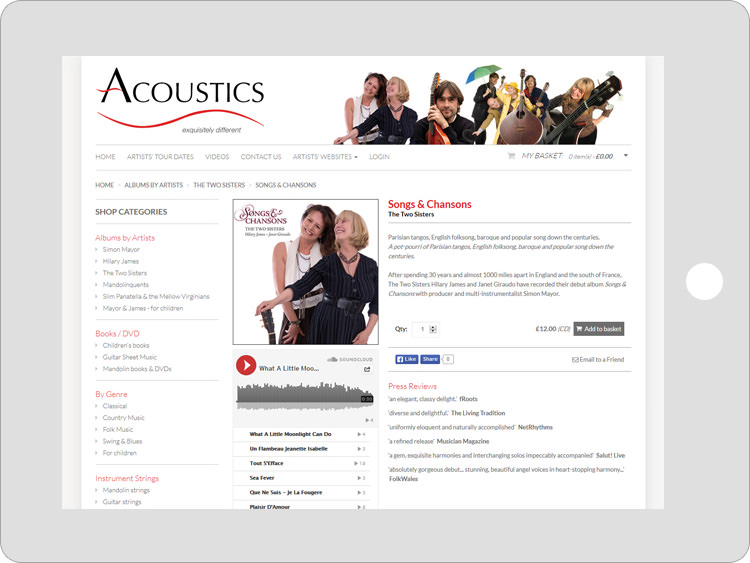 iPad view of Acoustics Records website design