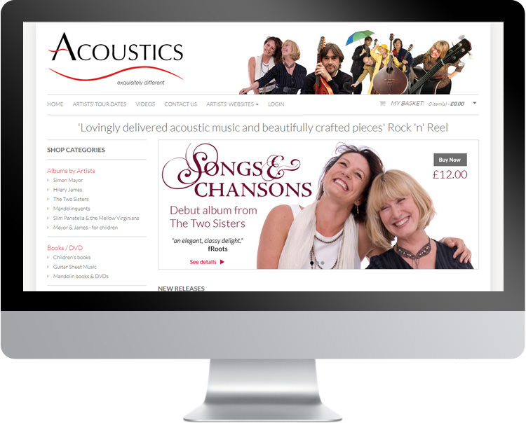 Responsive website design for Acoustics Records