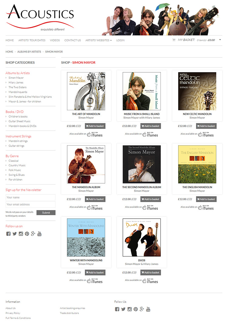 Acoustics Records on-line shopping